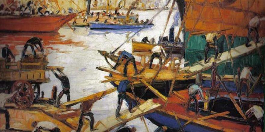 """""""Día de trabajo"""", obra de Quinquela Martín, realizada en 1958."""